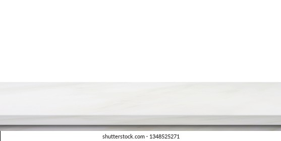 Empty marble table, isolated on white background, banner, table top, shelf, counter design for product display montage