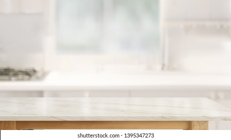 Empty marble table top in kitchen room background