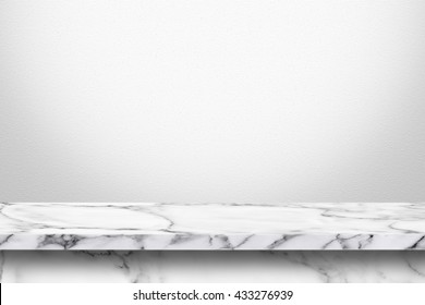 Empty marble table with white gray gradient wall background. For display or montage your products.