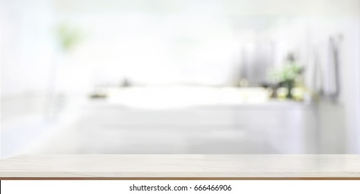 Empty marble top table with blurred bathroom interior Background. for product display montage.
