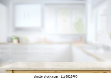 Empty Marble top table for product or food montage with modern kitchen room background.