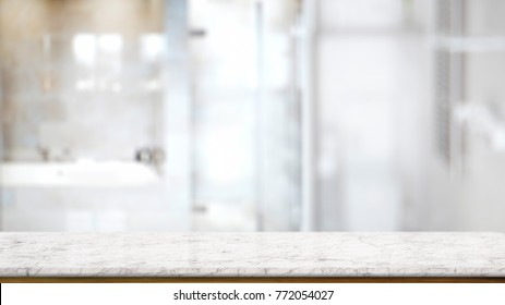 Empty marble and wood table counter in modern bath room. for product montage display.