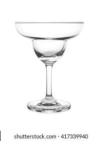Empty Margarita Glass isolated on white background