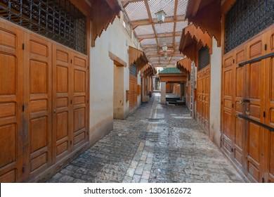 Empty market Bazaar street - souk. Ancient medina of Fez, Morocco