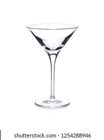 Empty martini glass isolated on white background