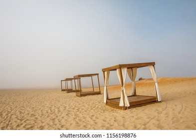 Empty massage booth in an empty beach