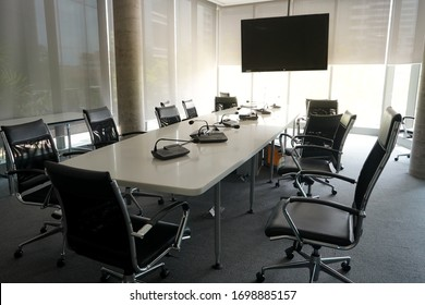 an empty meeting room at the office during Covid-19 situation everyone work from home, social distancing
