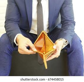 empty Men's Wallet. no money or broke. no money or broke concept.