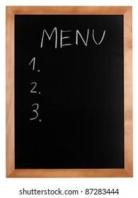 Empty menu hand written on chalkboard