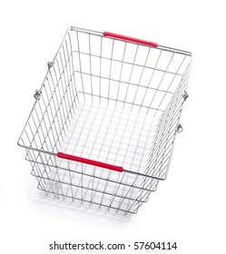 Empty metal basket isolated over white background