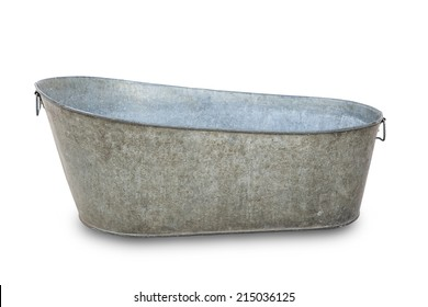 Empty metal bath tube isolated on a white background