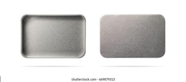 Empty metal box isolated on white background. Steel container or accessory package for your design. ( Clipping path or cut out object for montage ) Can put text, image, and logo.