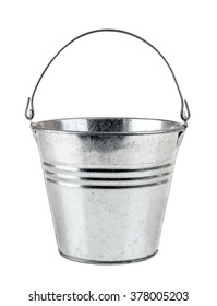 empty metal bucket isolated on a white background