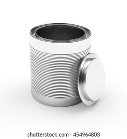 Empty metal can with the lid open isolated on white background. 3D illustration
