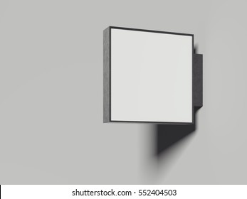 Empty metal signboard in a bright studio. 3d rendering