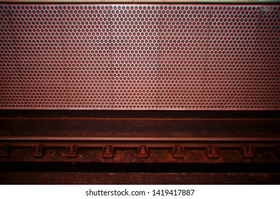 Empty metro station with chromatic aberration background