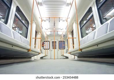 Empty metro wagon in the subway