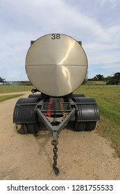 An empty milk tanker parked on a diary farm close to Great Brak in South Africa. It has a massive capacity and can transport thousand of liters milk.