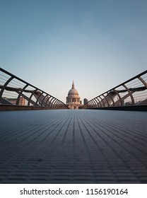 Empty millennium bridge leading to St Pauls Cathedral in London