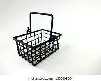 Empty Mini Black Shopping Basket with Handle