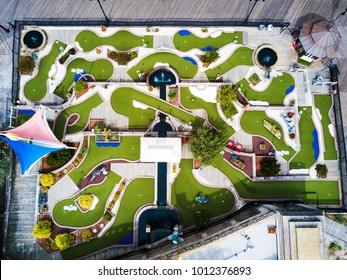 Empty mini golf course playground aerial view