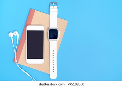 Empty mobile phone screen with white gadgets for mobile application mock up