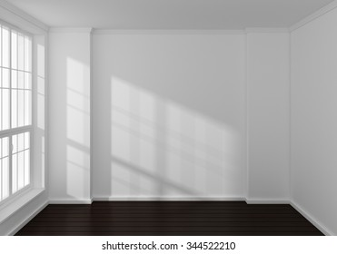 Empty modern 3d rendered interior with a big window.