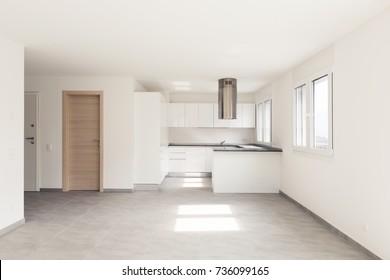 Apartamento moderno vacío, espacios vacíos