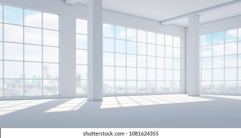 Empty modern bright interior with huge panoramic windows. 3d rendering