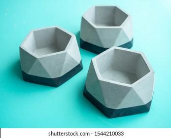 Empty modern geometric concrete planters. Beautiful  concrete pots.