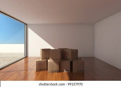 Empty modern hall with cardboard boxes