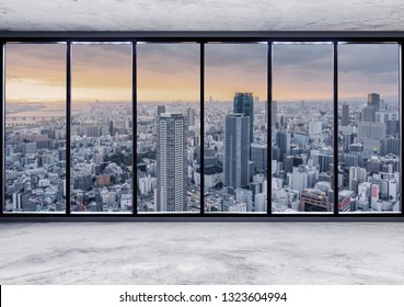 Empty modern interior space with skyscraper city view in sunrise