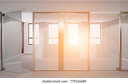 Empty modern office Cabinet. Meeting room. 3D rendering Sunset