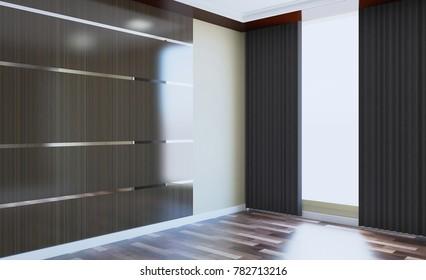 Empty modern office Cabinet. Meeting room. 3D rendering.