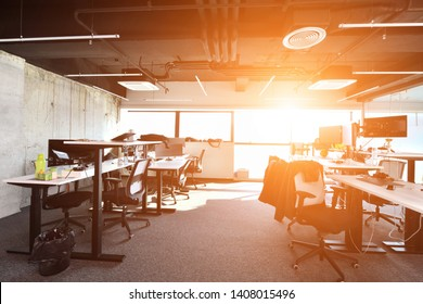 Empty Modern Open Plan Office with the sunlight through the windows