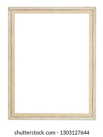 empty modern simple painted wooden picture frame with cut out canvas isolated on white background