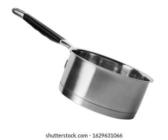 Empty modern steel saucepan isolated on white