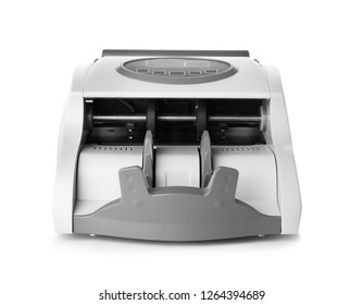 Empty money counting machine on white background