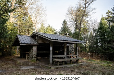 Empty Mount Collins Shelter near the junction of Sugarland Mountain and the Appalachian Trail