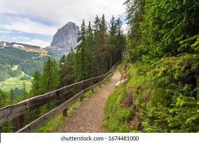 Empty mountain trail in the Dolomites. Valgardena. Italy.