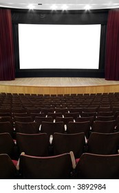 empty movie screen, red open curtain, wooden stage, wooden seats
