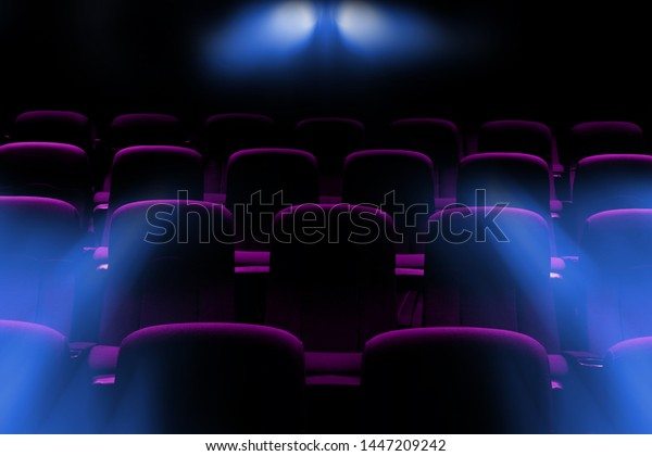Empty Movie Theater Purple Seats Flare Backgrounds Textures Stock Image 1447209242
