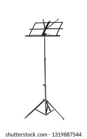 Empty music note stand on white background