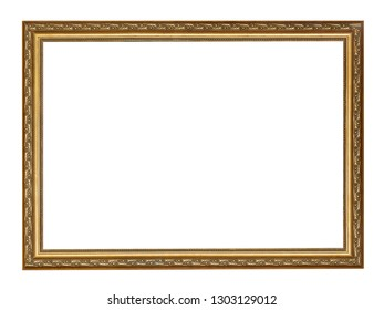 empty narrow golden carved wooden picture frame with cut out canvas isolated on white background
