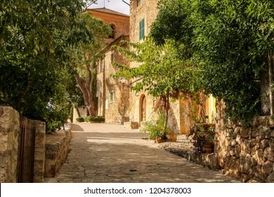 Empty narrow street in Palma de Mallorca. The street in Palma de Mallorca, Mallorca, Balearic islands, Spain