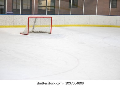 Empty net at an ice hockey rink in Colorado