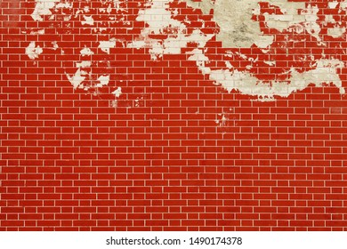 Empty new brick wall texture. Painted distressed rustic wall surface. Red stonewall background. Abstract web banner. Copy-space. Vintage style