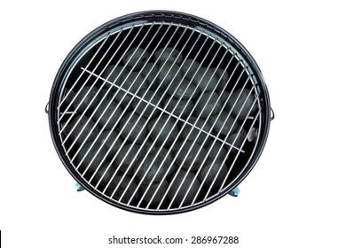 Empty New Clean BBQ Kettle Grill With Charcoal Briquettes In The Pit Isolated On White Background Overhead View