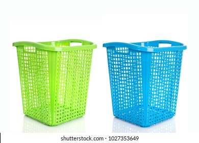 Empty new green plastic basket isolated on white background