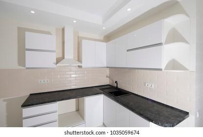 empty new modern luxury white kitchen room